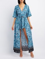 Charlotte Russe Paisley Flutter Sleeve Maxi Romper