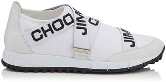 Jimmy Choo TORONTO White and Black Nappa and Knit Elastic Slip On Trainers