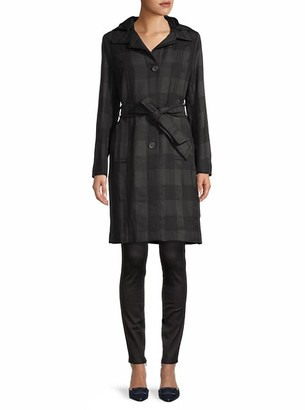 Maje Plaid-Print Belted Trench Coat