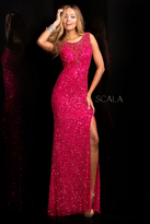 Scala 48670 Long High Neck Dress with Side Slit