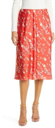 IORANE Cherry Tree Floral Satin Slip Skirt