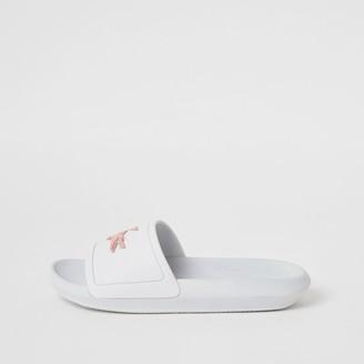 Lacoste River Island Womens White brand embossed sliders