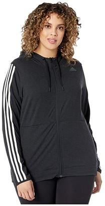 adidas Plus Size 3 Stripe Training Full Zip Hoodie Jacket (Black/White) Women's Coat