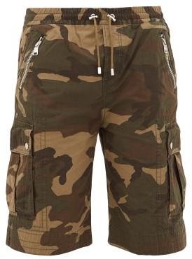Balmain Camouflage Print Cotton Canvas Cargo Shorts - Mens - Khaki