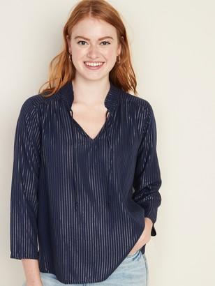 Old Navy Metallic-Stripe Split-Neck Blouse for Women