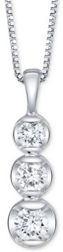 "Sirena Diamond Graduated 18"" Pendant Necklace (1 ct. t.w.) in 14k White Gold"