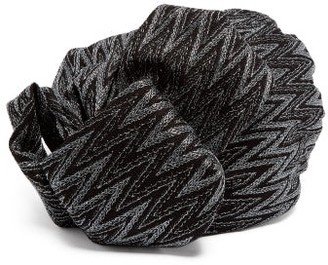 Missoni Zigzag Metallic Crochet Knit Turban Hat - Womens - Black
