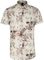 River Island Mens Big and Tall cream floral short sleeve shirt