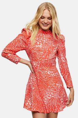 Topshop Pink High Neck Long Sleeve Mini Dress