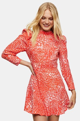 Topshop Womens Pink High Neck Long Sleeve Mini Dress - Pink