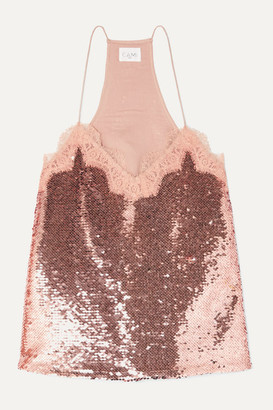 CAMI NYC The Racer Lace-trimmed Sequined Crepe De Chine Camisole - Antique rose