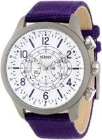 Versus By Versace Women's SGL050013 Soho Round Gun Ion-Plated Stainless Steel Purple Canvas Strap Watch