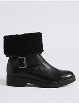 M&S Collection Wide Fit Leather Faux Fur Ankle Boots