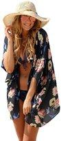 Moxeay® Women's Light Loose Print Chiffon Sheer Kimono Blouse Cover Up (L)