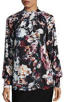Ivanka Trump Shirred Floral Blouse