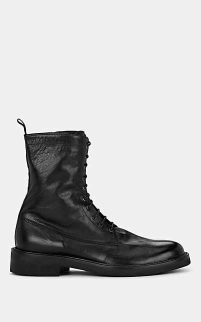 Barneys New York Men's Leather Combat Boots - Black