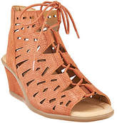 Earth Nubuck Leather Lace-up Wedge Sandals -Daylily