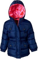Pink Platinum Navy & Pink Hooded Puffer Coat - Infant, Toddler & Girls