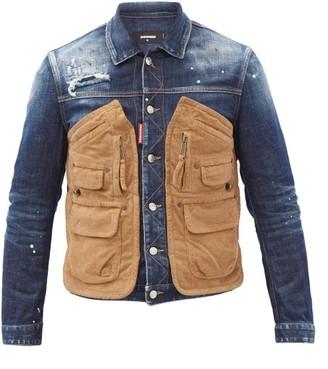 DSQUARED2 Corduroy Pocket-panel Distressed Denim Jacket - Blue
