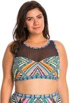 Jessica Simpson Plus Size Venice Beach High Neck Mesh Crop Bikini Top 8140032