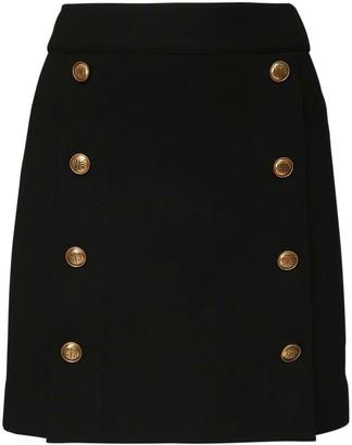 Givenchy High Waist Buttoned Stretch Mini Skirt