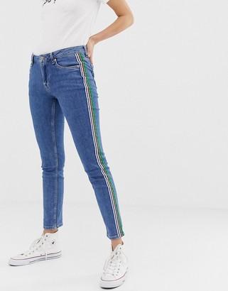 Pepe Jeans Heidi tape side boyfriend jeans-Blue