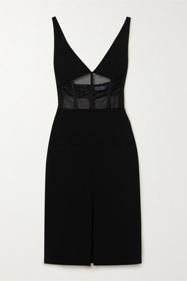 Thierry Mugler Mesh-paneled Scuba Midi Dress - Black
