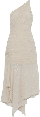 Halston One-shoulder Pleated Metallic Polka-dot Chiffon Midi Dress