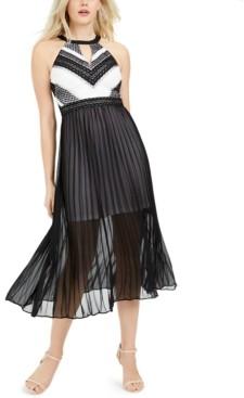 GUESS Crochet-Lace Pleated Midi Dress
