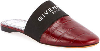 Givenchy Bedford Flat Croco Mules with Logo Elastic
