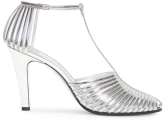 Givenchy Cage Metallic Leather T-Strap Pumps