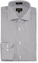 Neiman Marcus Classic-Fit Non-Iron Square Dress Shirt, Black/White