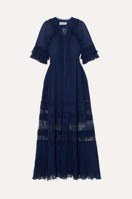 Self-Portrait Ruffled Lace-trimmed Pleated Chiffon Maxi Dress - Navy