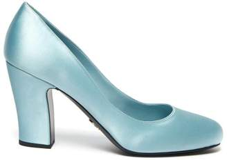 Prada Round Toe Satin Pumps - Womens - Light Blue