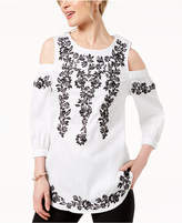 Charter Club Embroidered Cold-Shoulder Tunic, Created for Macy's
