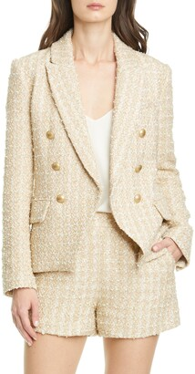 L'Agence Kenzie Double Breasted Metallic Tweed Blazer