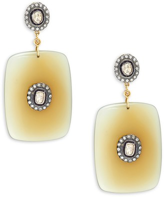 Artisan 18K Yellow Gold, Black Rhodium-Plated Sterling Silver, Agate & Diamond Drop Earrings