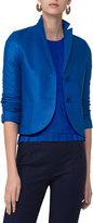 Akris Punto Perforated Leather Two-Button Blazer, Blue