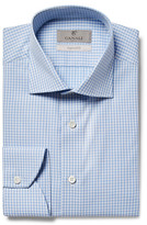 Canali Blue Slim-Fit Cutaway-Collar Gingham Cotton-Poplin Shirt