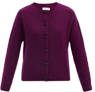 Erdem Jayelle Round-neck Cable-knit Cashmere Cardigan - Burgundy