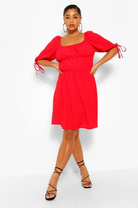 boohoo Plus Balloon Sleeve Smock Dress