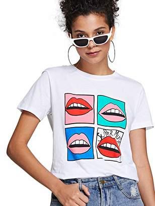 Milumia Women's Summer Sequin Letter Print Embellished Short Sleeve T-Shirt Top