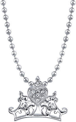 Disney Princess Womens Clear Crystal Pure Silver Over Brass Pendant Necklace