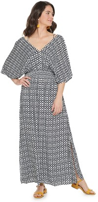 Nina Leonard Women's Print Smocked-Waist Maxi Dress