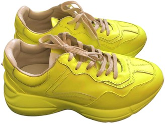 Gucci Rhyton Yellow Leather Trainers