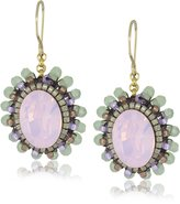 Miguel Ases Prehnite Quartz Small Button Drop Earrings