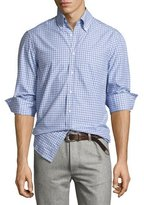 Brunello Cucinelli Twill Multi-Check Shirt, Blue
