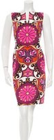 David Meister Printed Square Neck Dress