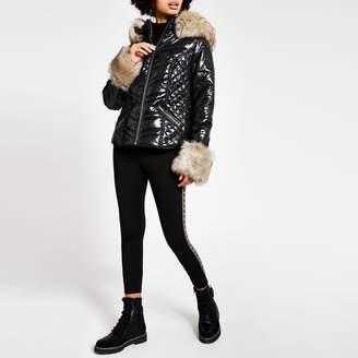 River Island Womens Black faux fur cuff high shine padded coat