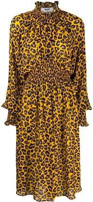 MSGM Animal Print Midi Dress